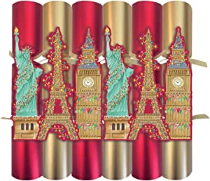 Caspari Celebration Crackers with Luxury Embellishments Cities of Lights 12-1/2""