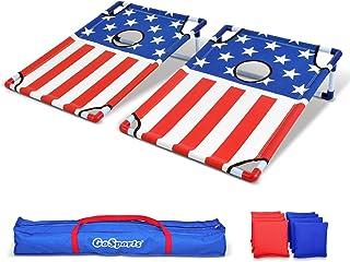 GoSports 便携 PVC 带框沙包游戏套装,带 8 个沙包和旅行手提箱 - 选择美国国旗设计,足球或经典红蓝色