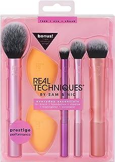 Real Techniques 化妆刷套装,带有2个美妆蛋,用于涂抹眼影,粉底,腮红和遮瑕,每套6个