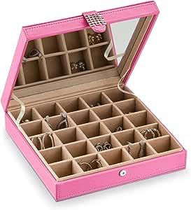 经典 25 节首饰盒/收纳盒/盒/耳环、戒指、袖扣或收藏夹 粉红色 B00KQ2MKHS