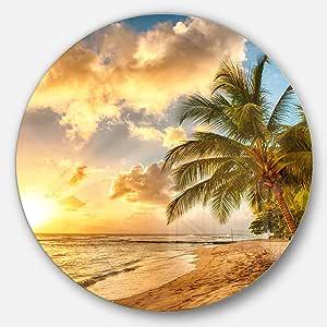 Designart 华丽的巴巴多斯岛海滩现代海景圆形墙壁艺术 11X11 - Disc of 11 inch MT11484-C11