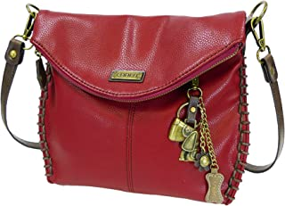 Chala Charming 斜挎包带拉链盖顶部和金属链 - *红色