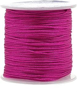 Mandala Crafts 1mm Satin Nylon Chinese Knot Rattail Macramé Beading Knotting Sewing Cord, 100M (Hot Pink)