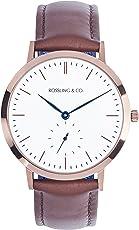 Rossling & Co. 石英男女适用手表 Westhill 白盘(亚马逊进口直采,加拿大品牌)