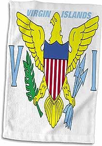 3D Rose 维尔京群岛国旗 twl_45085_1 毛巾,38.10 cm x 55.88 cm