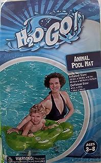 H2OGo 彩色充气青蛙游泳泳池浮垫 适合 3-8 岁儿童 - 35.6 英寸 x 35.6 英寸 x 6.1 英寸