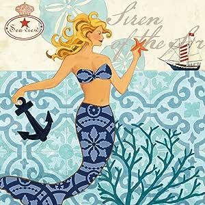 Jennifer Brinley 创作的组合帆布装饰美人鱼金发艺术品 20x20 NCE4503