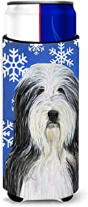 Bearded Collie Winter Snowflakes Holiday Michelob Ultra Koozies for slim cans SS4635MUK 多色 Slim