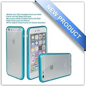 iPhone 6手机壳 zio [ 铝制金属框架 ] [ TPU 混合 FUSION ] [ 全透明防刮透明后盖 ] [ 防震吸收剂 ] iphone 64.7 iPhone 6-Blue