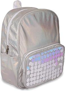 Moore 彩虹色银色防水14英寸(约35.6厘米)背包,适合男孩和女孩,学校和旅行公文包,适合书籍和午餐。