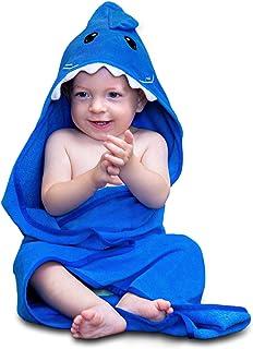 Hudz Kidz 婴儿连帽浴巾,柔软纯棉,适合新生儿到幼儿(蓝色鲨鱼)