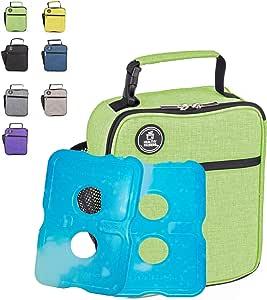 Healthy Packers 隔热午餐盒,适合成人和儿童,带 2 个纤薄持久冰袋 - 男女专业工作午餐袋 - 宽敞的加厚学校午餐盒 *