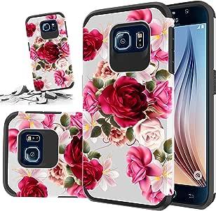 三星 Galaxy S6 手机橡胶手机壳,坚固耐用混合双层手机壳 红色花卉