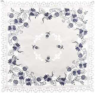 亚麻布,Art and Things 刺绣奢华蓝色洋葱花桌布,小桌布,咖啡桌围巾 111.76 cm x 111.76 cm 方形