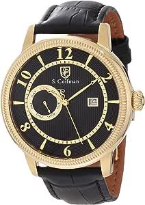 S. Coifman 男式 SC0192 黑色纹理表盘黑色皮革手表