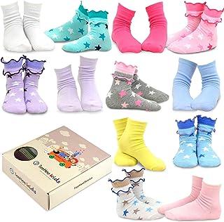 teehee 儿童女孩棉质时尚船袜12双装