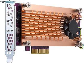 Qnap 双 M.2 22110/2280 SATA SSD 扩展卡(PCIe Gen2 X 2),半高支架预安装,低调平和全高捆绑 PCIe Gen2x4, M.2PCIeSSD X 2