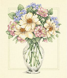 """Flowers In Tall Vase Counted Cross Stitch Kit-12""""X14"""" 14 Count"""
