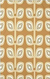 E by design HGN373Y2YE4-60x80 叶树几何印花毯,152.4x203.2cm,金色