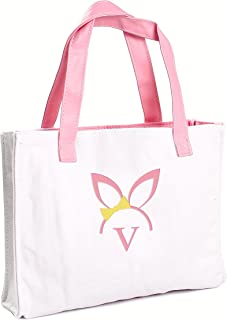 Cathy's Concepts Girls Easter Bunny Canvas Tote Bag, Monogrammed Letter V