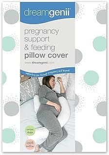 Dreamgenii 孕妇支撑和喂食枕头套 Geo 棉 灰色/水绿色