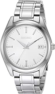 SEIKO 精工 男士必备日本石英不锈钢表带,银色(型号:SUR307)