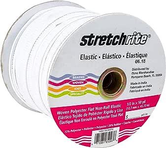 StretchRite 1 1/2 英寸 x 25 码白色平织涤纶弹性线轴 白色 1/2 by 50-Yard 1NSS1101WHTE