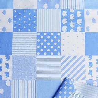 NBK 棉质印花布料 拼接花纹 宽110cm×10m断售裁剪 B 蓝色 DH13098S-B