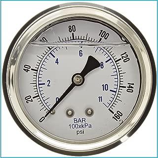 LIQUID FILLED 压力气体,6.35 厘米表盘,不锈钢表壳,黄铜连接,0.64 厘米磁环 NPT 后挂件连接,双伸缩 PSI 和杆 0-160 PSI