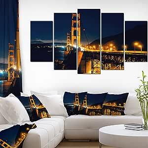 夜间海桥金门帆布艺术墙照片艺术印画