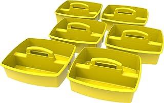Storex 大号储存盒,13 x 11 x 6.38 英寸(约 33.02 x 27.94 x 16.20厘米),各种颜色,一套6个 (00948E06C) 13 x 11 x 6.38 Inches 黄色