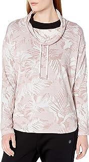 Calvin Klein 女式迷彩热带印花重褶领上衣