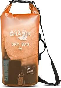 SandShark 优质防水防水袋 - 透明 10 和 20 升浮动袋 适用于划船、露营、皮划艇、游泳、海滩和水上运动 - 侧边和肩带 - 保持装备干燥。