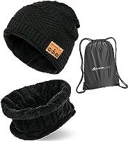 蓝牙无檐小便帽 - 无线耳机帽和围巾套装适合冬季户外男士女士保暖针织音乐帽黑色 - 内置麦克风