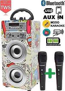 DYNASONIC – 便携式蓝牙卡拉OK扬声器,带麦克风,USB和SD读卡器,FM收音机模型(型号2)(麦克风2 TWS)