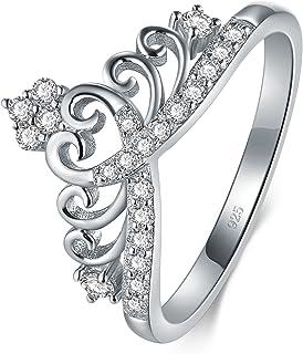 BORUO 925 纯银方晶锆石公主皇冠皇冠皇冠皇冠 Cz 戒指 永恒戒指 4-12