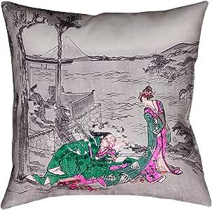 """ArtVerse Katsushika Hokusai 日本 Courtesan 40.64cm x 40.64cm 枕头仿麂皮双面印花,隐形拉链和枕芯 绿色 14"""" x 14"""" HOK046P1616H"""