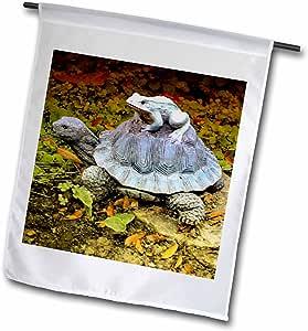 ET 摄影花园装饰–A 花园乌龟雕像 with A 青蛙 riding ITS 后–旗帜 12 x 18 inch Garden Flag