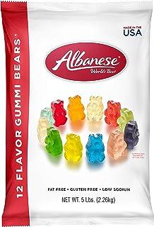 Albanese 12種味道糖果 橡皮糖熊5磅/2.26kg袋,什錦橡皮糖熊:櫻桃,粉紅葡萄柚,西瓜,草莓,橙,藍莓,青檸,葡萄,青蘋果,芒果,菠蘿,檸檬