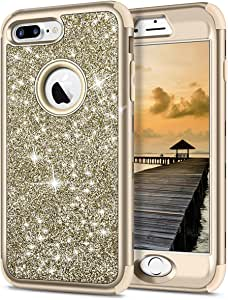 iPhone 7 Plus Case,SAMONPOW 3 in 1 Full Body Protection iPhone 7 Plus Cover Bling Glitter Sparkle Hard PC Soft Slicone Inner iPhone 8 Heavy Duty Rugged Bumper Defender for iPhone 7/ 8 Plus 金色