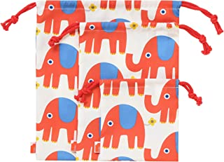 Solby 保育园 幼儿园 收纳杯子 荷包 3 件装 ゾウ/レッド