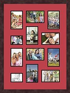 Art to Frames 双多衬垫-464-762/89-FRBW26061 拼贴框架照片垫双衬垫带 10-4x6 和 2-3x4 开口和咖啡色相框