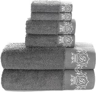 Sunshinejing 900 GSM 棉质浴巾奢华*店 & Spa 浴室手巾绣花毛巾装饰浴巾 6 Piece Grey Set