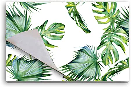 餐桌一次性纸垫,25 件装天然食品级优质派对垫子 - 矩形餐桌门,撕掉餐具垫、桌布垫 Palm Trees Leaves