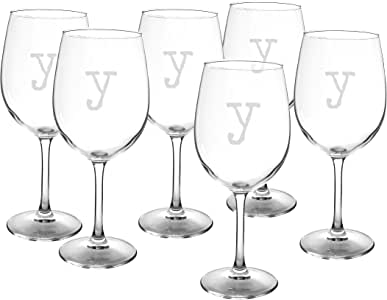 Cathy's Concepts Personalized Wine Glasses (Set of 6), Letter Y, 12 oz, Clear