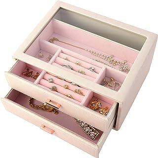 茶谷产业 Jewel Case Collection 珠宝盒(首饰盒) 粉色 H10.5×W22×D17cm -