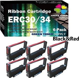 (6 件装,黑红色)GTS 兼容 ERC-30 ERC 30 34 38 色带用于爱普生 ERC38 NK506 DPN2700 TMU370 TMU375 打印机