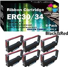 (6 件裝,黑紅色)GTS 兼容 ERC-30 ERC 30 34 38 色帶用于愛普生 ERC38 NK506 DPN2700 TMU370 TMU375 打印機