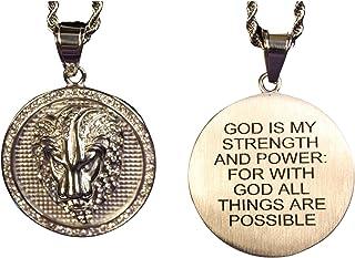 With God All Things Are Possible 金色圆形狮子项链嘻哈 58.42cm 长链不锈钢镀金狮子圆形吊坠男式女士礼品珠宝 Phil 4:13 God Is My Strength