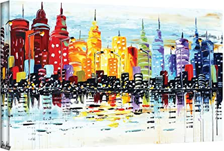 ArtWall Jolina Anthony 'Citylife' Gallery Wrapped Canvas Artwork, 18 by 36-Inch